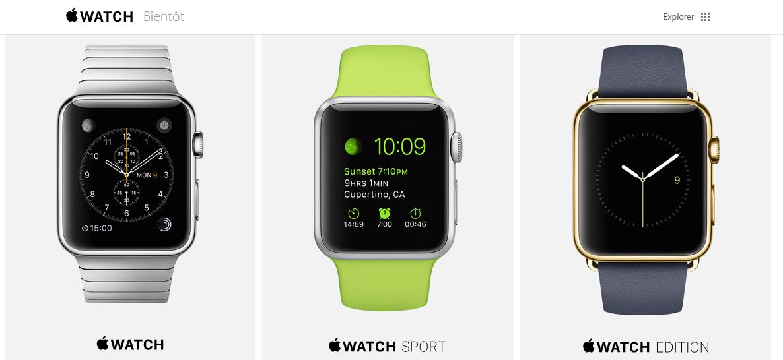 3 montres apple watch